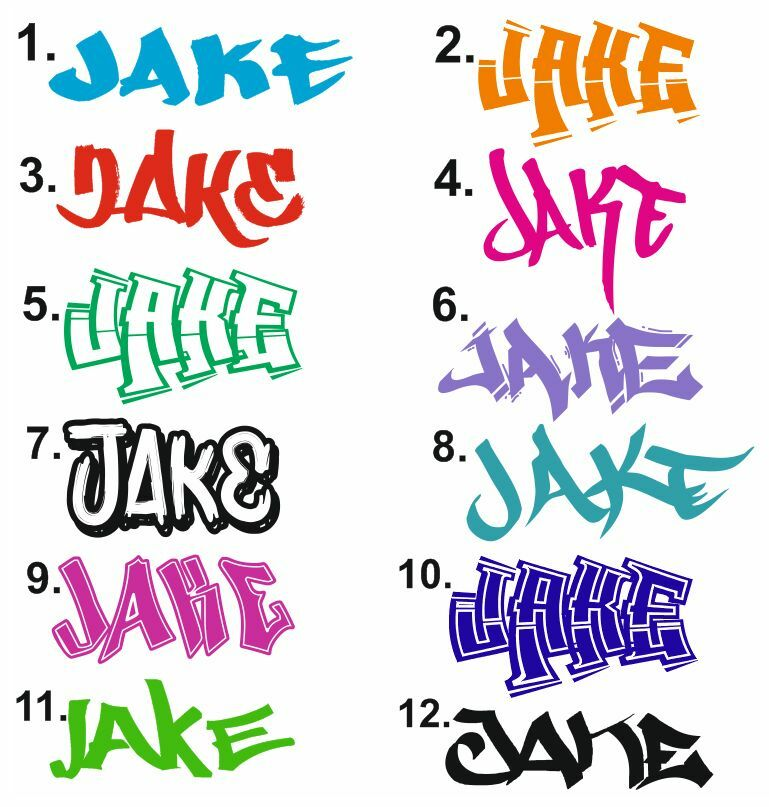 Personalised Graffiti wall art sticker name style all names available Skateboard eBay - Bedroom Wall Quote Stickers