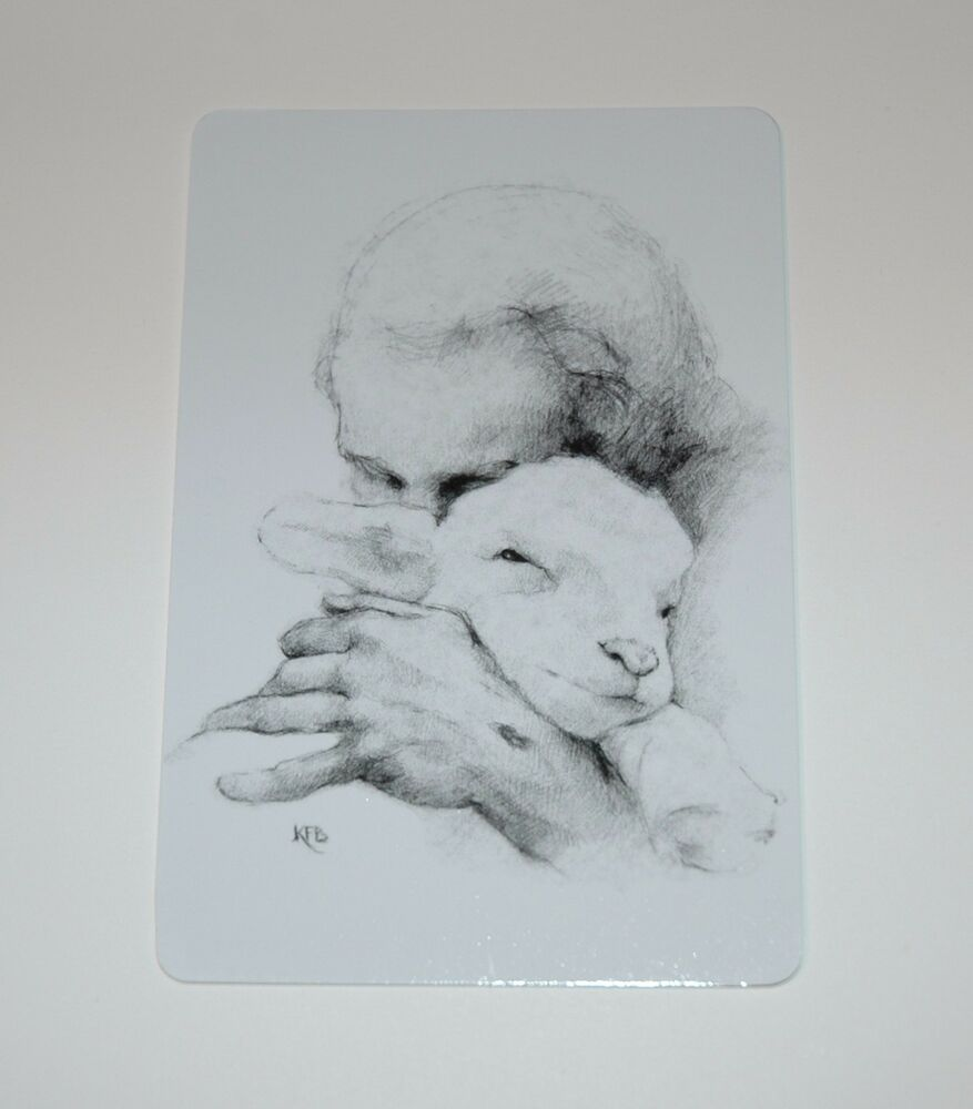 Details about katherine brown jesus and the lamb pencil sketch pocket prayer cards pack of 12