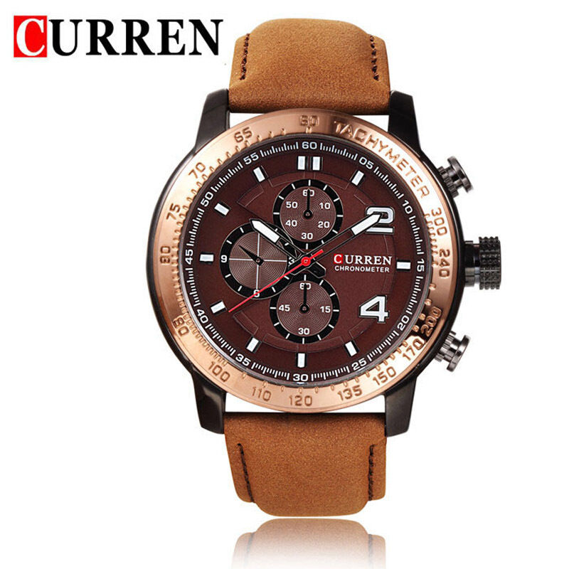 curren mens gold big brown leather
