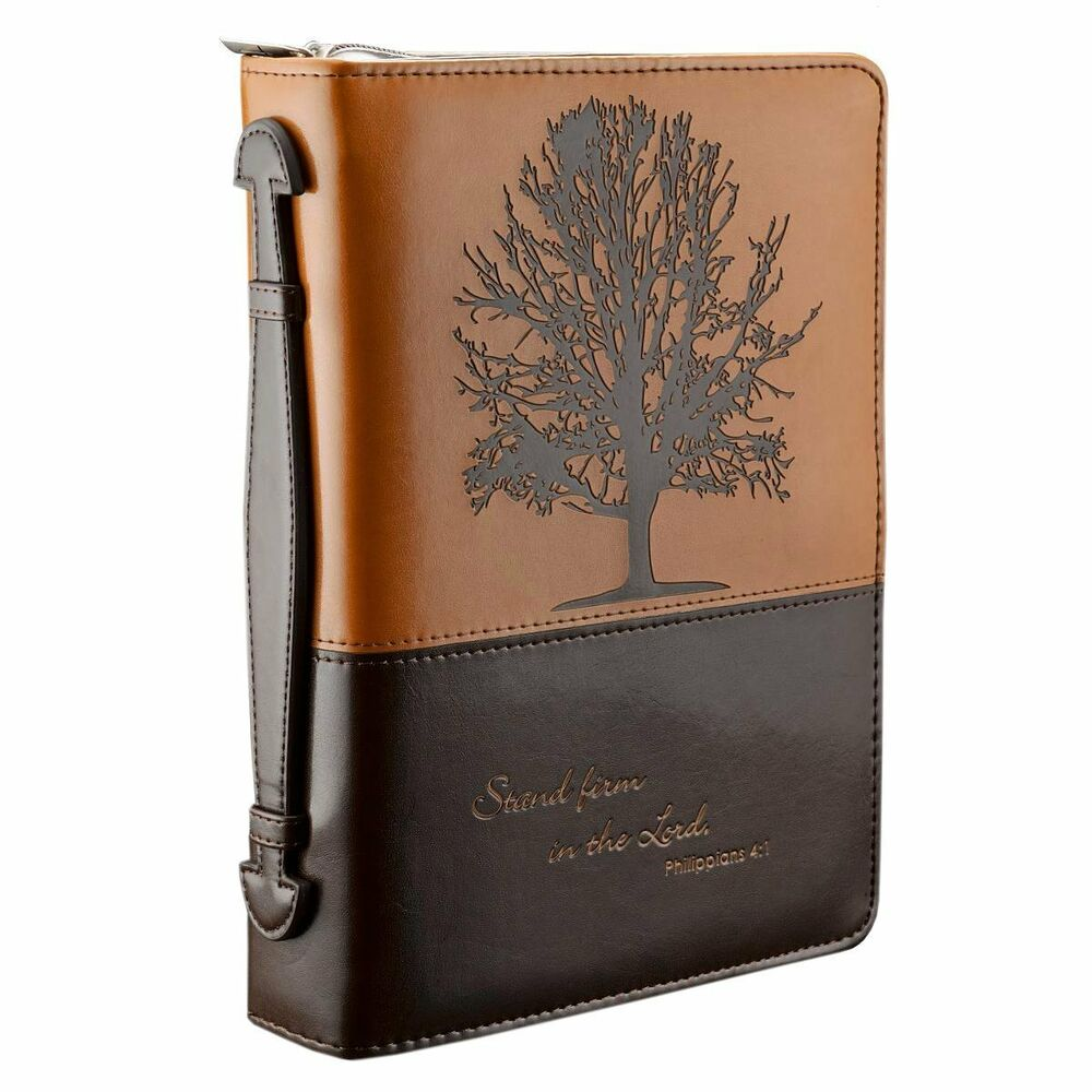 Book Cover Case : Two tone medium bible book cover engraved zipper faux