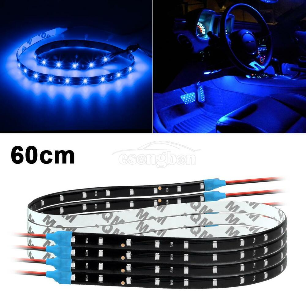 4x 60cm 24 blue 3528 30smd bright flexible led car strips interior door light ebay for Led car interior lights ebay