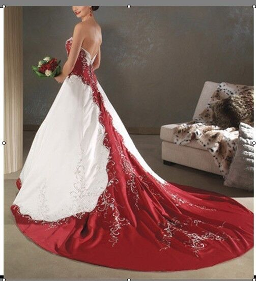 Red Wedding Dress History: Custom White And Red Satin Embroidery Wedding Bridal Prom