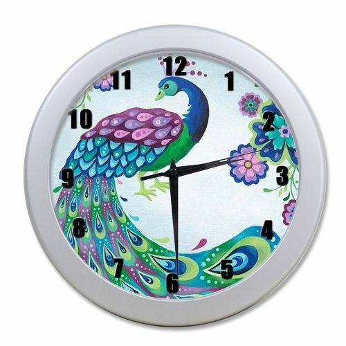 Home decor unique beautiful peacock digital round quartz Cool digital wall clock