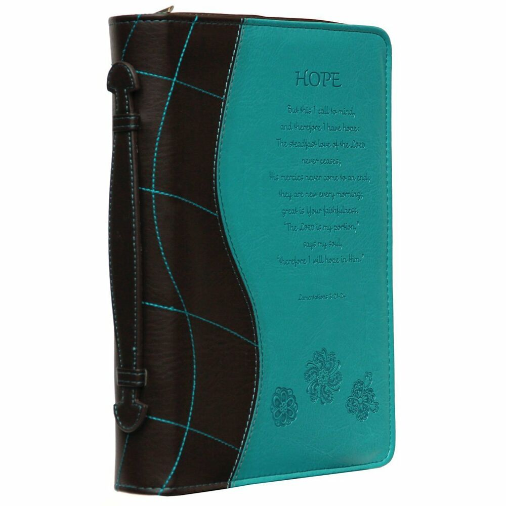 Book Cover Watercolor Zipper ~ Turquoise hope bible book cover engraved zipper faux