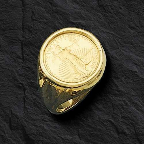 22k Fine Gold 1 10 Oz Us Liberty Coin In 14k Gold Ring 20