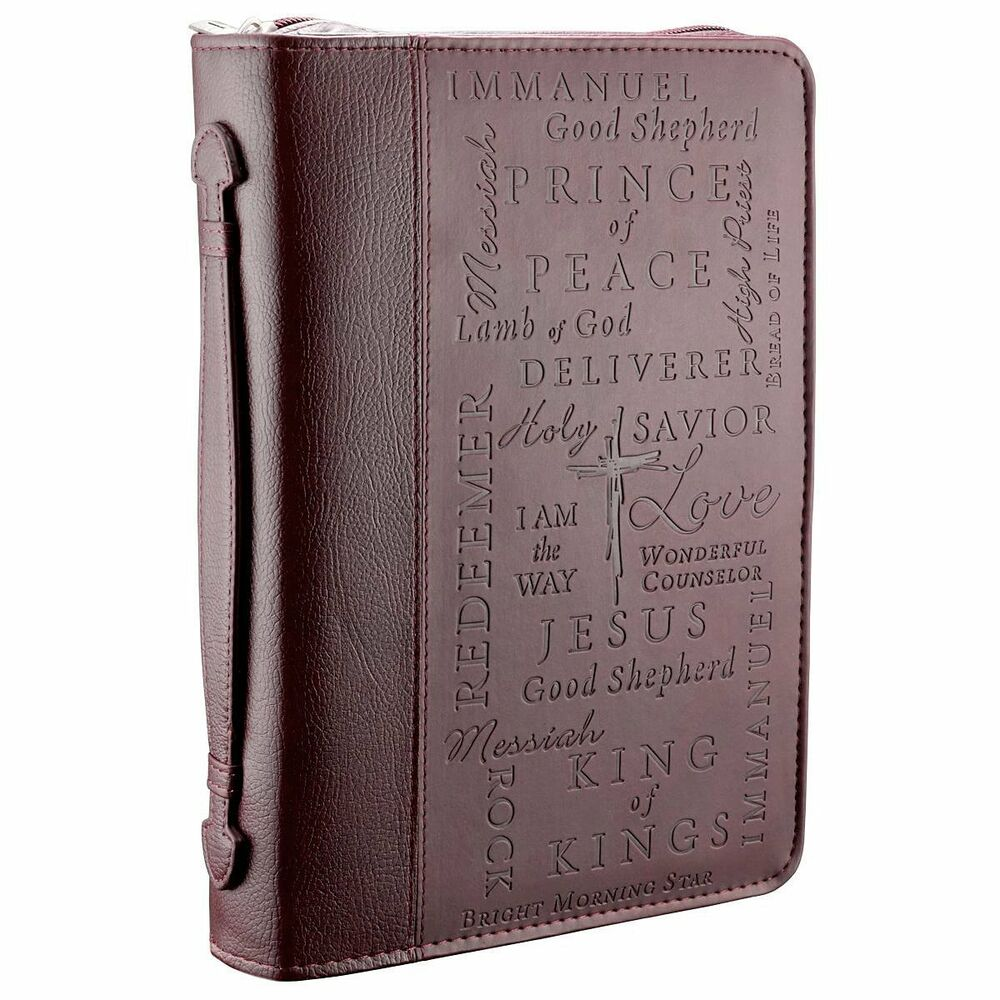 Book Cover Photography Zip : Names of jesus burgundy medium bible book cover faux