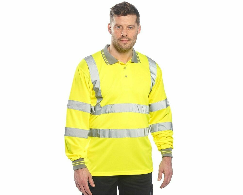Portwest S277 Hi Vis Long Sleeve Polo Shirt In Moisture Wicking