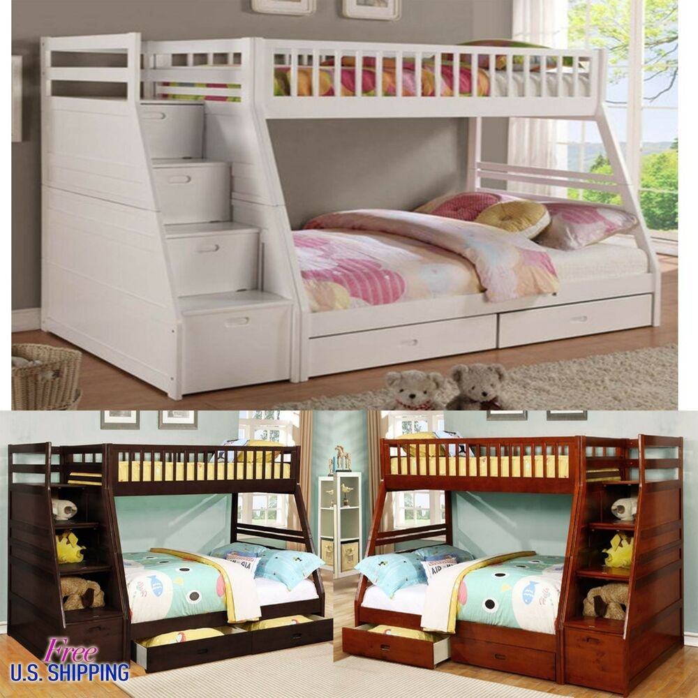 Wooden Bunk Bed Twin Full Solid Wood Loft Bunkbed Kids ...