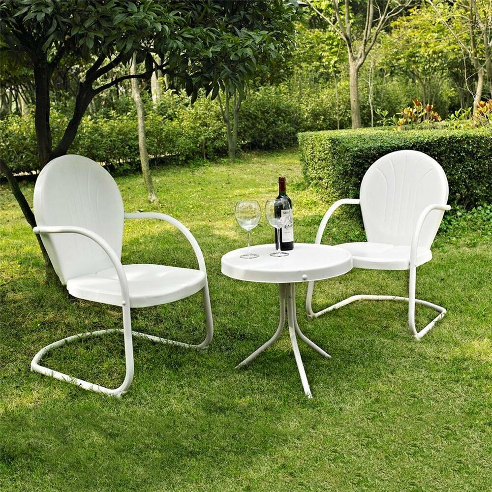 3 piece white outdoor metal retro vintage style chairs for White patio table