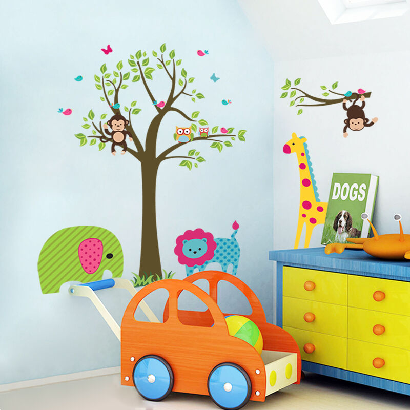 Wall stickers jungle animal owl lion monkey tree baby room for Baby room jungle mural