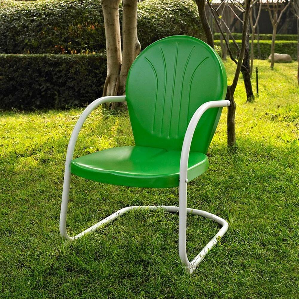 Green white outdoor metal retro vintage style chair patio for Retro outdoor furniture