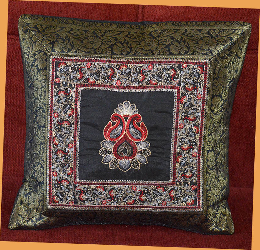 Black SILK EMBROIDERY BROCADE PILLOW COVER/CUSHION COVER