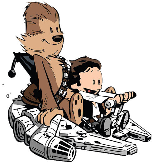 calvin and hobbes han solo and chewbacca play star wars