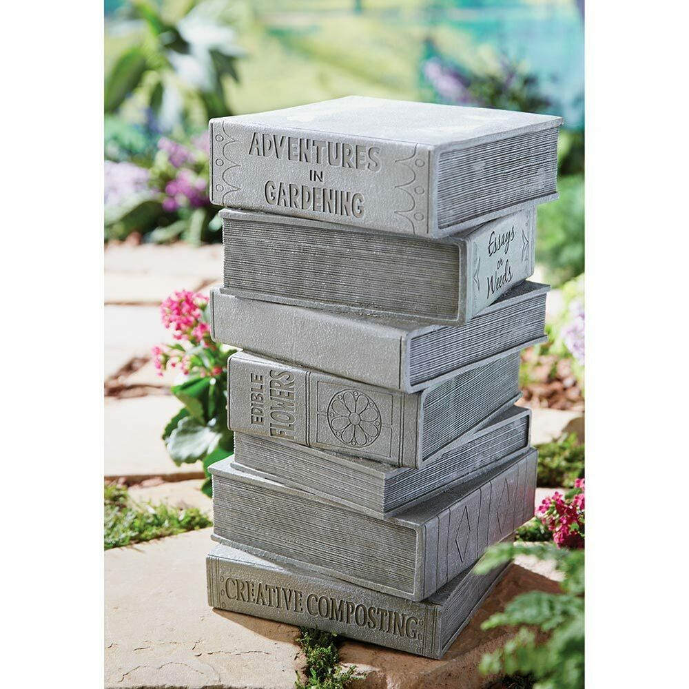 Stacked books outdoor garden sculpture stool fun patio for Decoration books