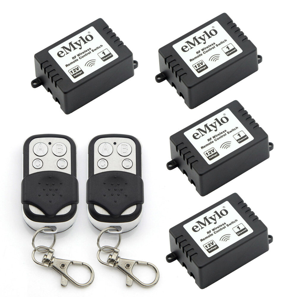12v 4x1 channel wireless remote control light switch kit rf relay 2 transmitter ebay. Black Bedroom Furniture Sets. Home Design Ideas