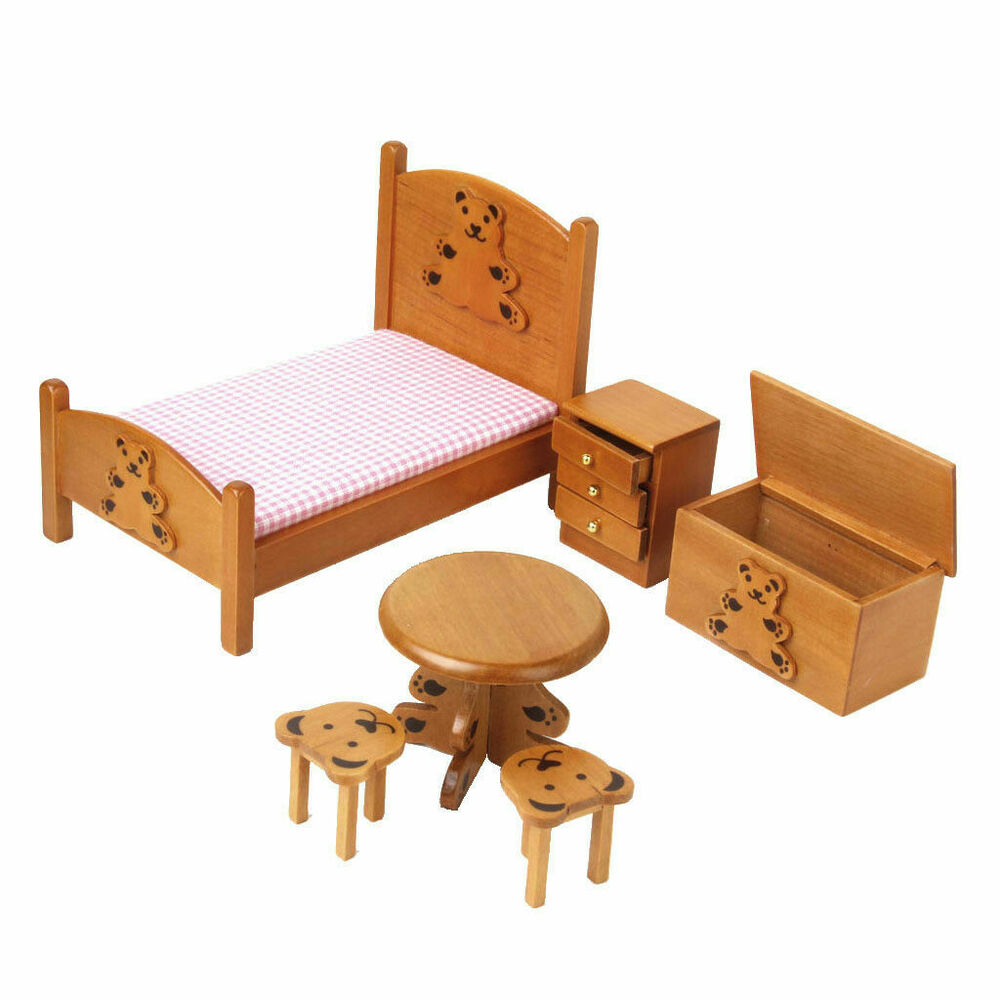 12 dollhouse miniature furniture bedroom set 6pcs children lovely