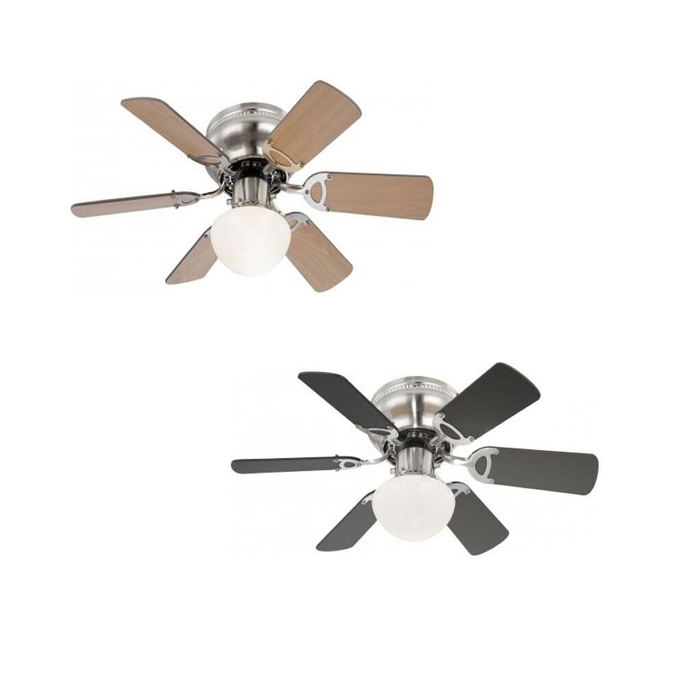 globo ceiling fan ugo matt nickel 76 cm 30 with pull cord and light. Black Bedroom Furniture Sets. Home Design Ideas