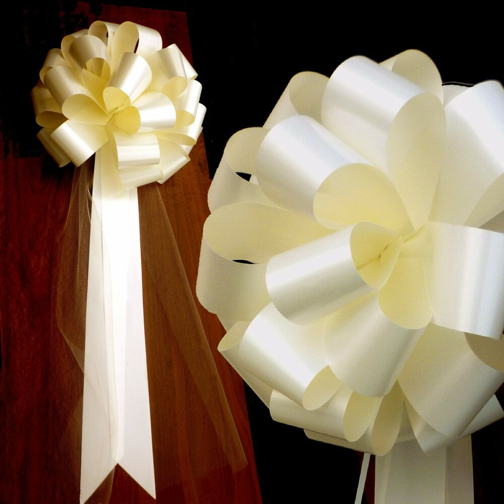 20 Large Ivory 9 5 Quot Pew Pull Bows With Tulle Tails Wedding