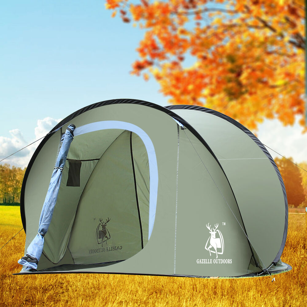 large pop up camping hiking tent auto instant setup easy fold back army green ebay. Black Bedroom Furniture Sets. Home Design Ideas