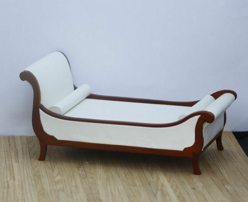 Dollhouse Miniature Art Deco Chaise Style Bed In Real