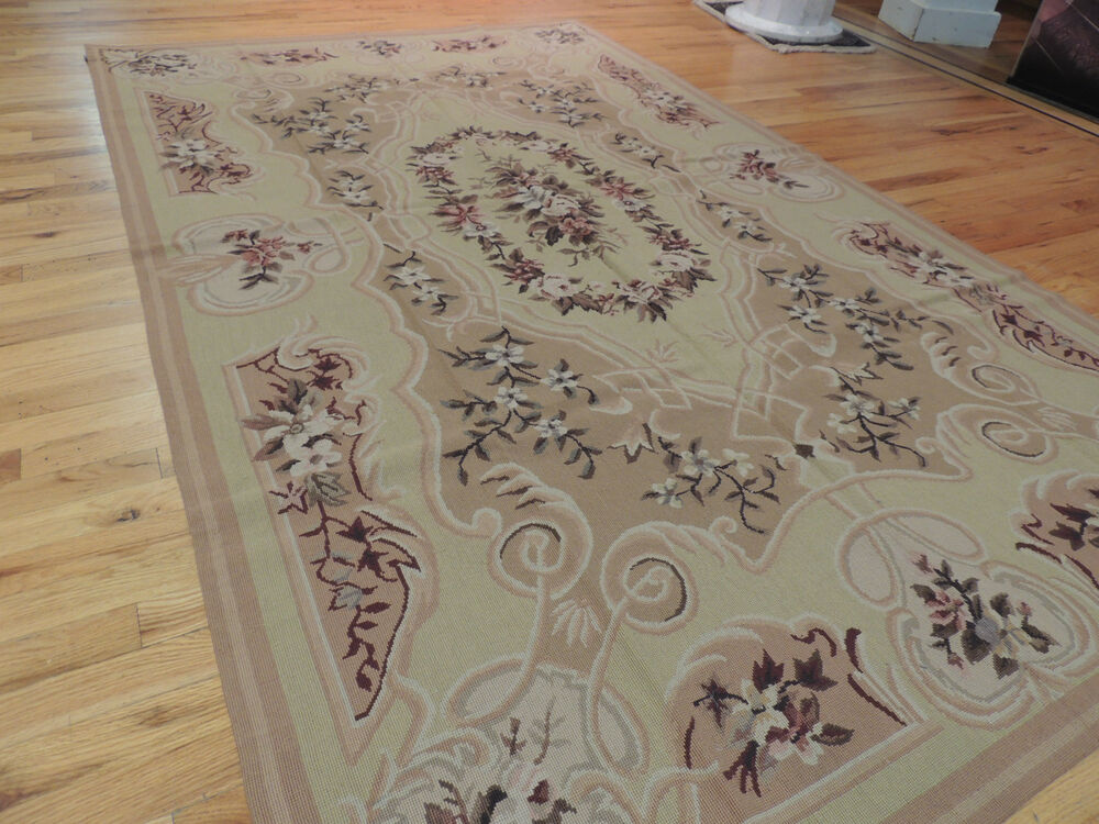 French Aubusson Needlepoint Oriental Area Rug Carpet 5x8