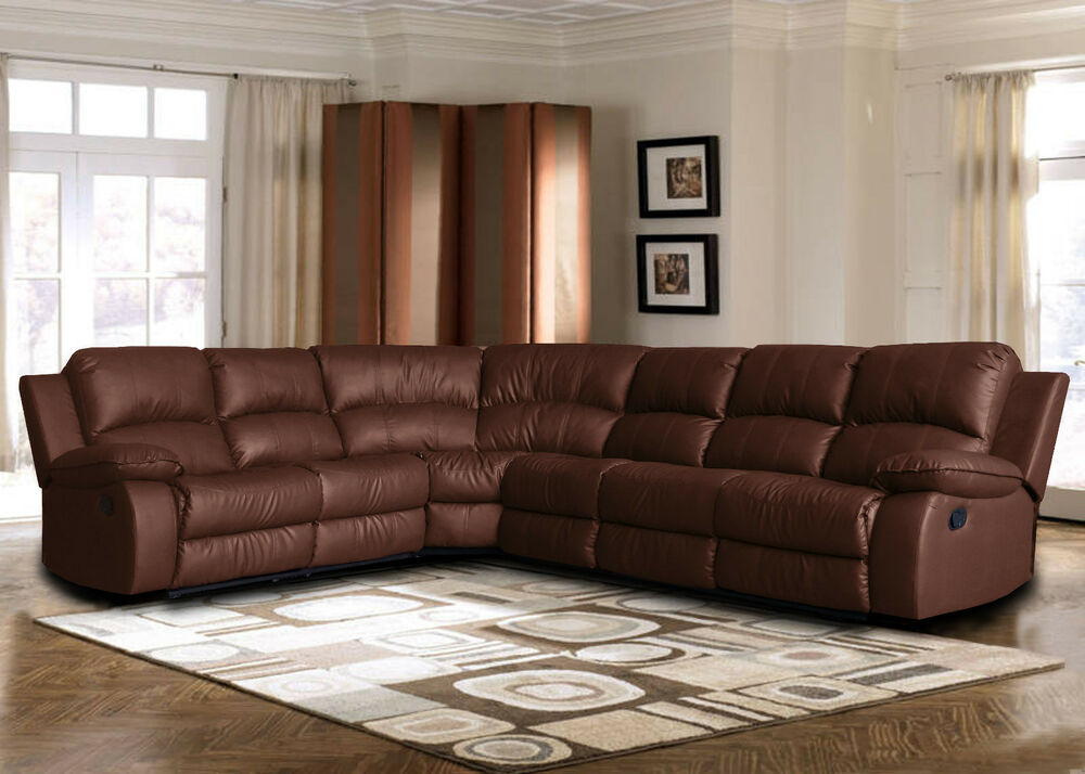 Large bonded leather sectional sofa with reclining end seats brown ebay Loveseats with console