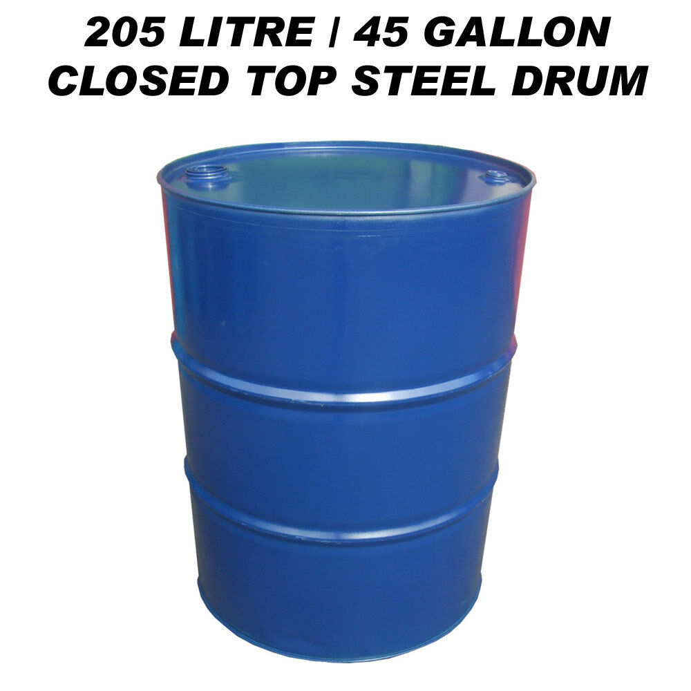 205 litre 45 gallon closed top steel drum barrel container for diesel gasoil bbq ebay