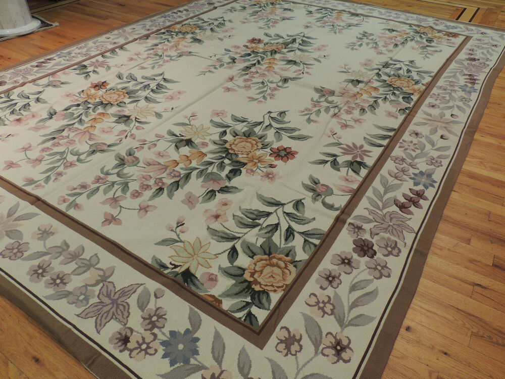 French Aubusson Needlepoint Oriental Area Rug Carpet 9x12