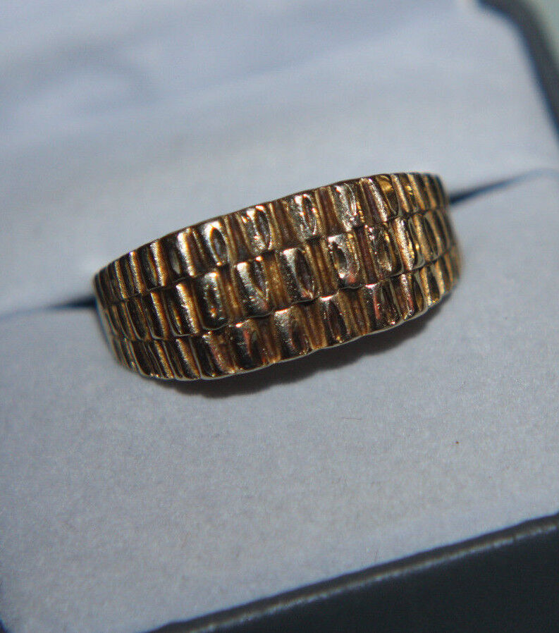 Jcm 10k Yellow Gold Diamond Cut Wide Band Ring Mens Ebay
