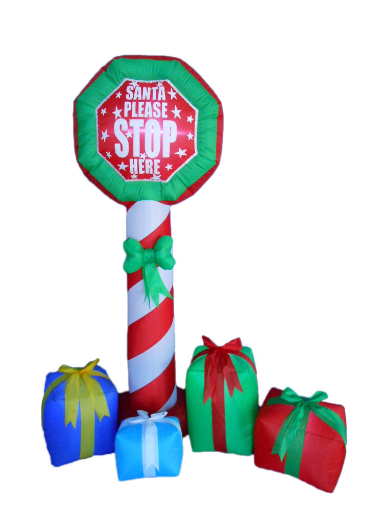 Christmas inflatable stop sign gift boxes lights 2016 yard outdoor