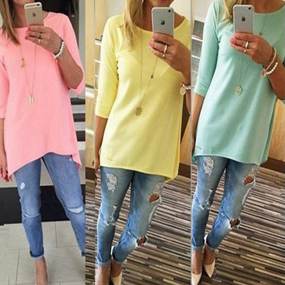 Women casual loose t shirt long sleeve crew neck tunic top for Women s crew t shirts