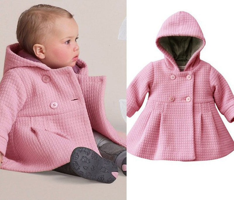 New Baby Toddler Girl Autumn Winter Horn Button Hooded Pea