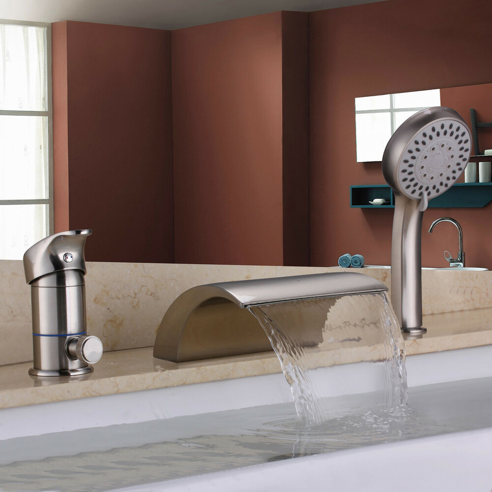 Brushed Nickel Waterfall Roman Tub Filler Faucet Hand
