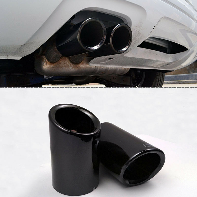 2Pcs New Black S-line Exhaust Muffler Tail Pipe Tip For