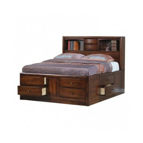 King size storage bed bookcase headboard drawers - Bedroom furniture bookcase headboard ...