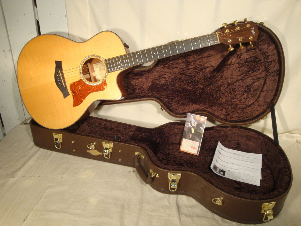 taylor 516ce acoustic electric guitar with brown leather hardshell case ebay. Black Bedroom Furniture Sets. Home Design Ideas