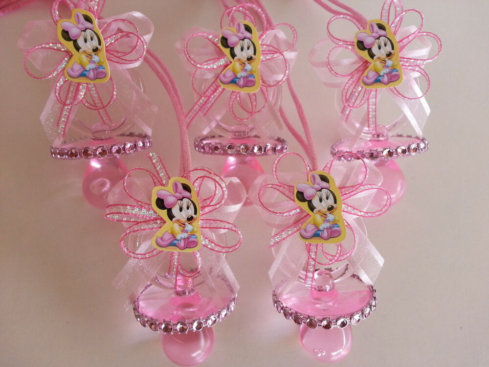 12 minnie mouse pink pacifier necklaces baby shower game - Baby shower invitations and decorations ...
