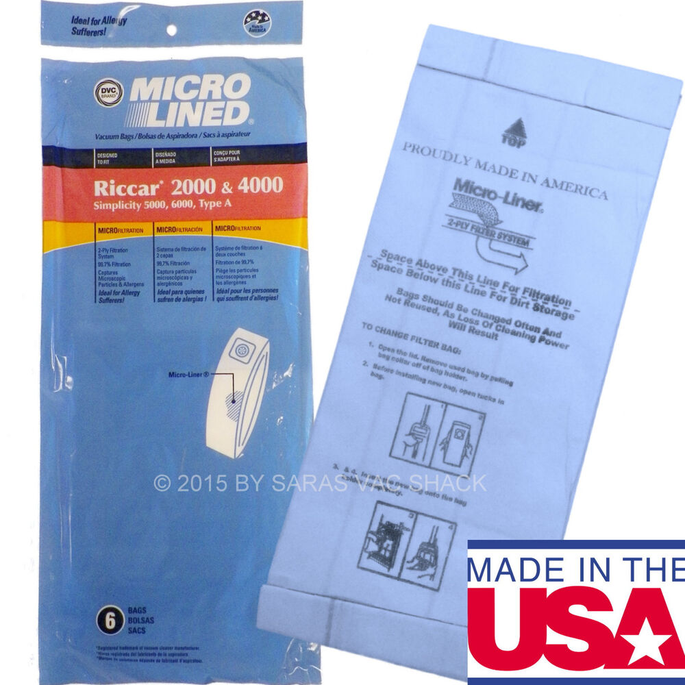 6 Type A Vacuum Bags For Riccar 2000 4000 Simplicity 5000