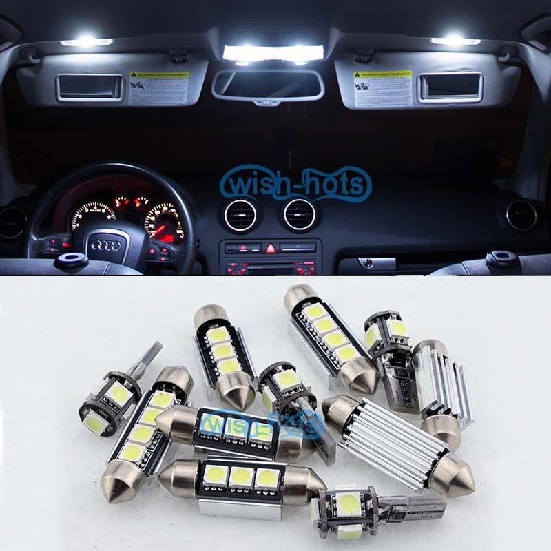 Pure white interior car led light bulbs package kit for ford focus ii mk2 ebay for Led car interior lights ebay