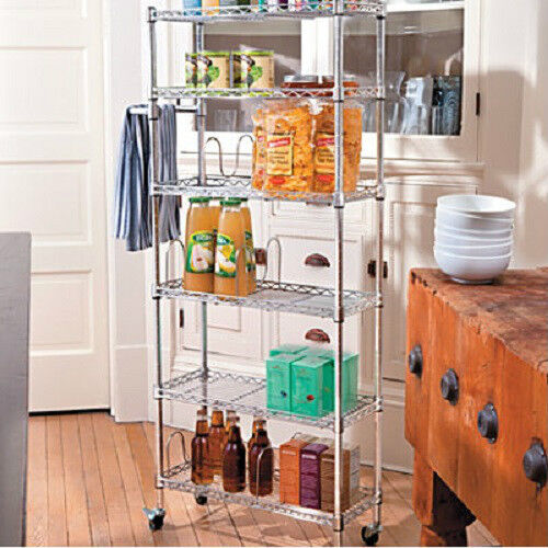 shelf portable rolling kitchen pantry shelf rack cart home