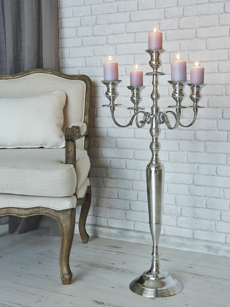 Tall arm silver candelabra taper candle holders wedding