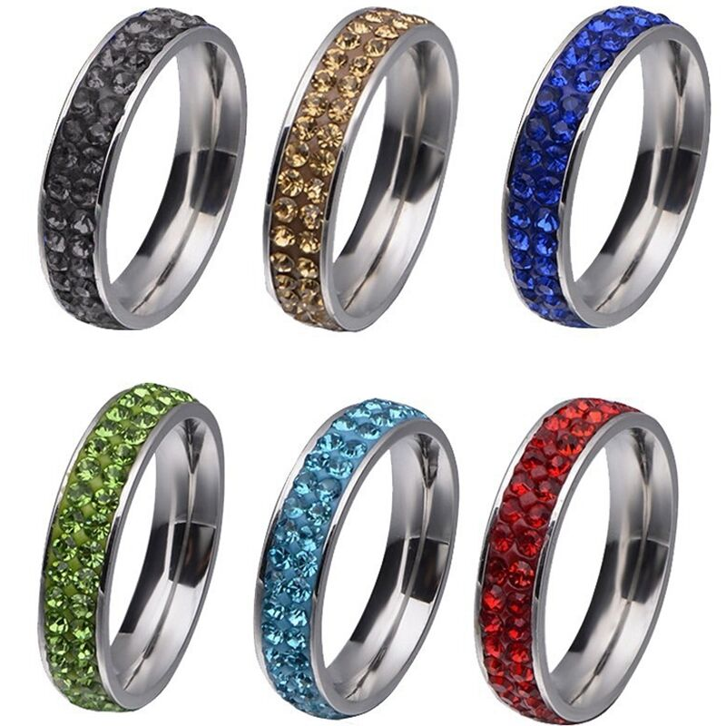 12 stainless steel candy color shamballa wedding engagement ring band