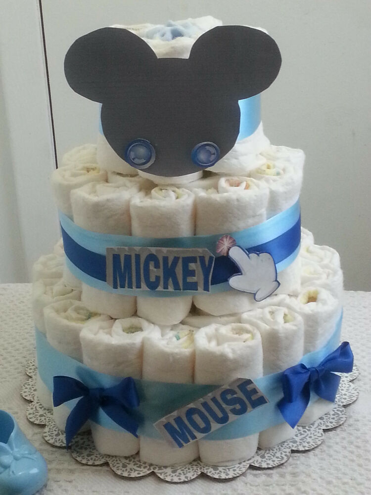 3 Tier Diaper Cake Blue Mickey Mouse Baby Shower Gift