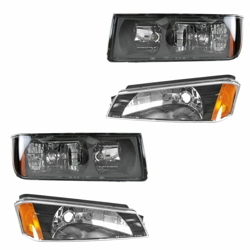2002 2006 chevy avalanche with body cladding headlight corner lamp combo 4pc ebay. Black Bedroom Furniture Sets. Home Design Ideas