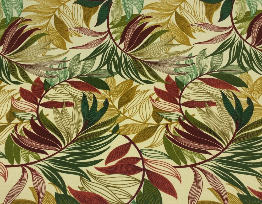 Richloom oasis gem leaf tropical green red outdoor for By the yard furniture