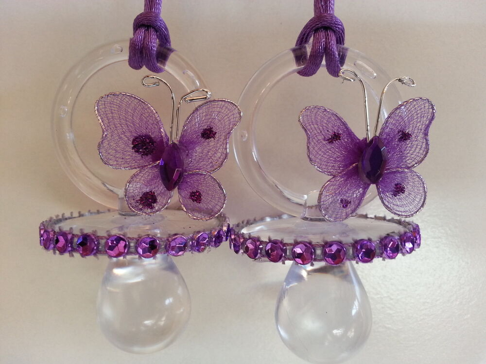 Purple butterfly pacifier necklaces baby shower game