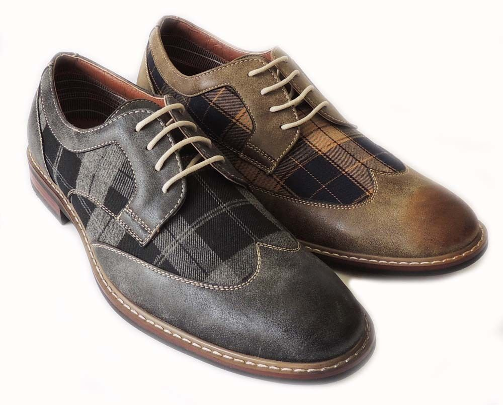 new fashion mens plaid wing tip lace up oxfords casual