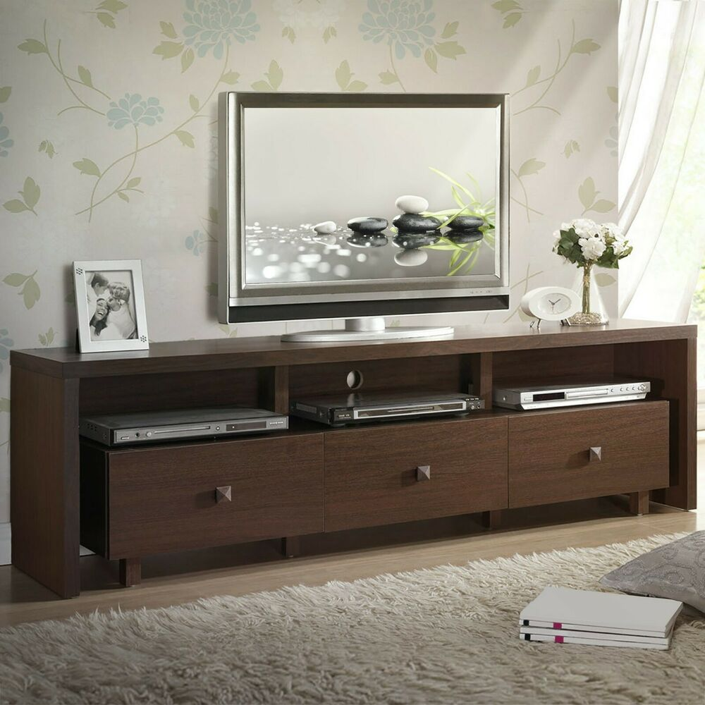 70   Modern Entertainment Center TV Stand with 3 Storage Cabinets and