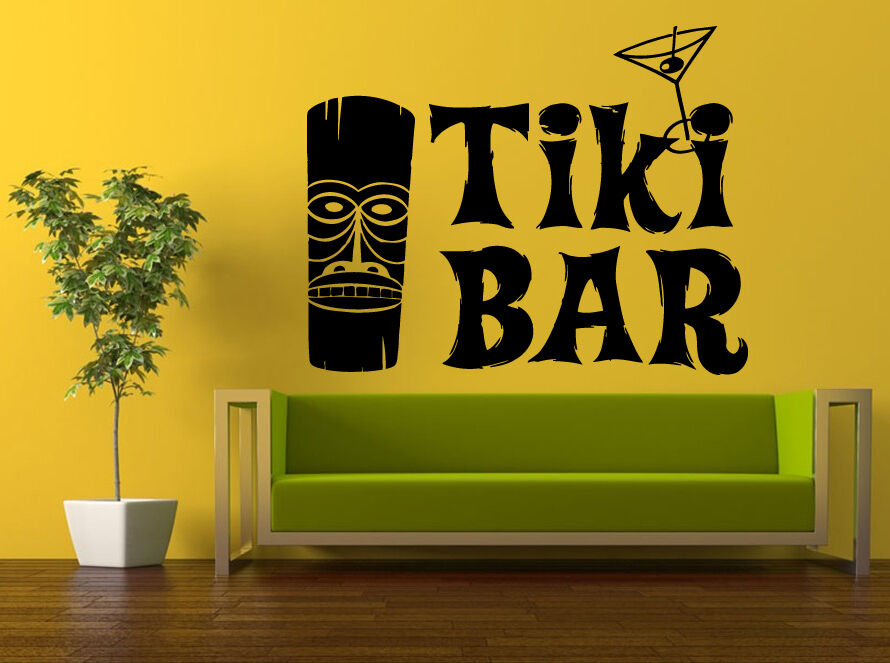 Wall room decor sticker mural decal totem mask hawaiian for Tiki room decor