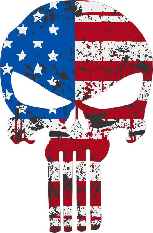 Punisher Skull Tattered Usa Flag Style Window Decal